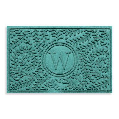 "Weather Guard™ Boxwood Monogrammed ""W"" 23-Inch x 35-Inch Door Mat in Aquamarine"
