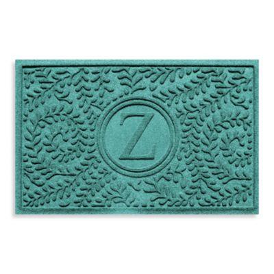 "Weather Guard™ Boxwood Monogrammed ""Z"" 23-Inch x 35-Inch Door Mat in Aquamarine"