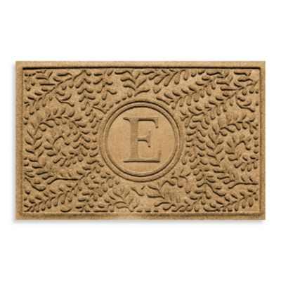 "Weather Guard™ Boxwood Monogrammed ""E"" 23-Inch x 35-Inch Door Mat in Gold"