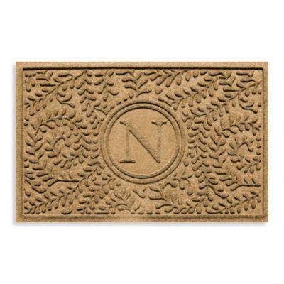 """Weather Guard™ Boxwood Monogrammed """"N"""" 2-Foot x 3-Foot Door Mat in Camel"""