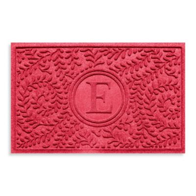 "Weather Guard™ Boxwood Monogrammed ""E"" 23-Inch x 35-Inch Door Mat in Solid Red"