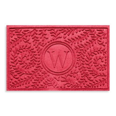"""Weather Guard™ Boxwood Monogrammed """"W"""" 23-Inch x 35-Inch Door Mat in Solid Red"""