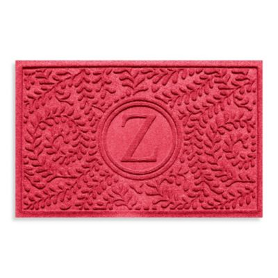 """Weather Guard™ Boxwood Monogrammed """"Z"""" 23-Inch x 35-Inch Door Mat in Solid Red"""