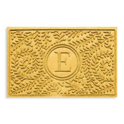 "Weather Guard™ Boxwood Monogrammed ""E"" 23-Inch x 35-Inch Door Mat in Yellow"