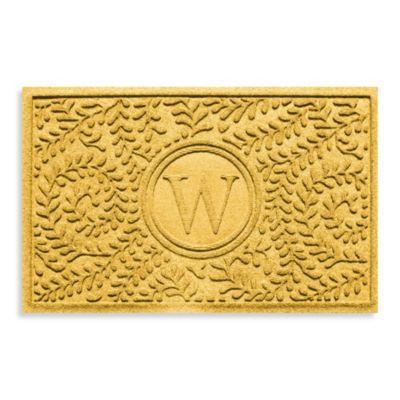 "Weather Guard™ Boxwood Monogrammed ""W"" 23-Inch x 35-Inch Door Mat in Yellow"