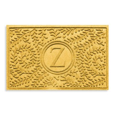 "Weather Guard™ Boxwood Monogrammed ""Z"" 23-Inch x 35-Inch Door Mat in Yellow"