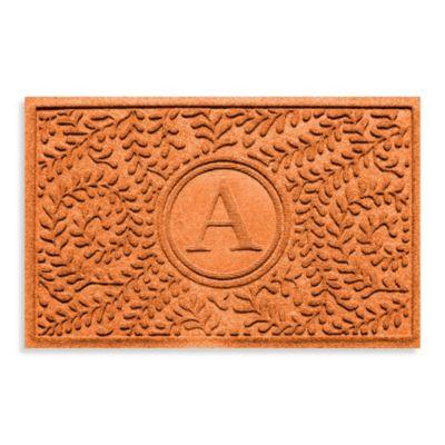 "Weather Guard™ Boxwood Monogrammed ""A"" 2-Foot x 3-Foot Door Mat in Camel"