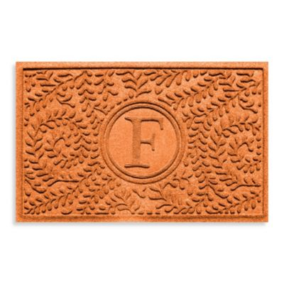"Weather Guard™ Boxwood Monogrammed ""F"" 23-Inch x 35-Inch Door Mat in Orange"