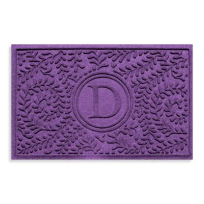 "Weather Guard™ Boxwood Monogrammed ""D"" 23-Inch x 35-Inch Door Mat in Purple"