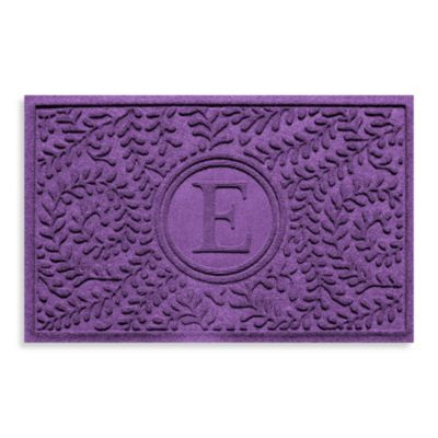 "Weather Guard™ Boxwood Monogrammed ""E"" 23-Inch x 35-Inch Door Mat in Purple"