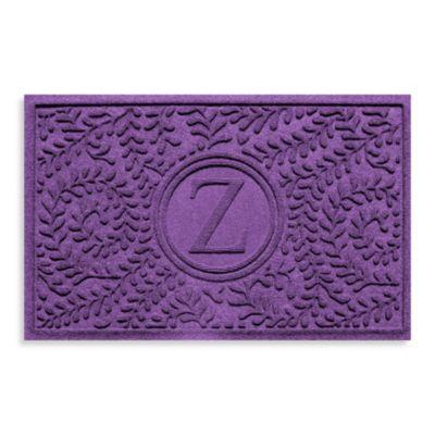"""Weather Guard™ Boxwood Monogrammed """"Z"""" 23-Inch x 35-Inch Door Mat in Purple"""
