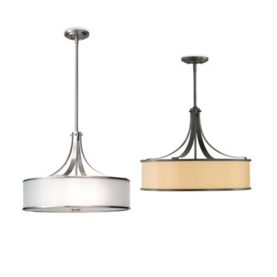 Feiss® Casual Luxury 4-Light Pendant in Brushed Steel with Silver Organza Shade