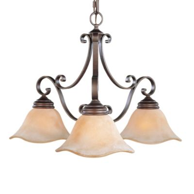 Feiss® Tuscan Villa 3-Light Small Chandelier with Champagne Scavo Glass