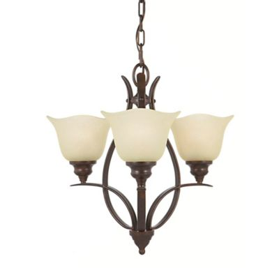 Feiss® Morningside Grecian Bronze Mini 3-Light Chandelier with Cream Snow Glass Shades