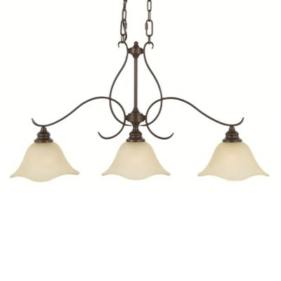 Feiss® Morningside 3-Light Billiard Chandelier with Cream Snow Glass Shades