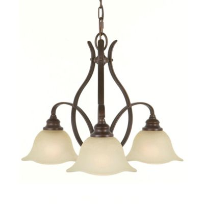 Feiss® Morningside Grecian Bronze 3-Light Chandelier with Cream Snow Glass Shades