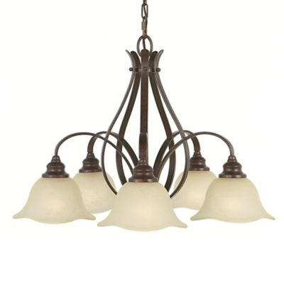 Feiss® Morningside 5-Light Chandelier with Cream Snow Glass Shades