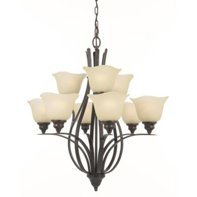 Feiss® Morningside 9-Light Wrought Iron Chandelier with Cream Snow Glass Shades