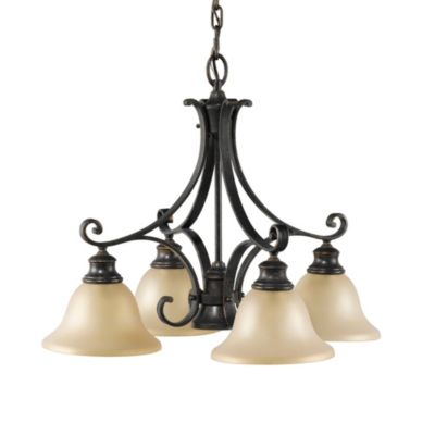 Feiss® Cervantes 4-Light + 1 Chandelier in Liberty Bronze