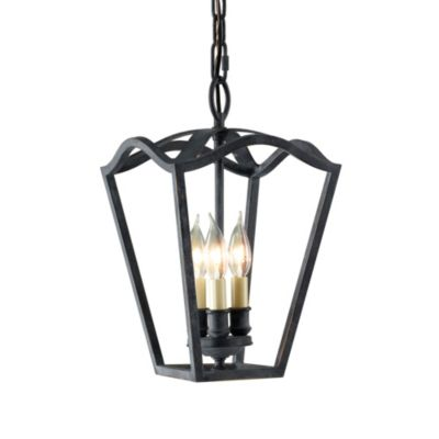 Feiss® Kings Table Hall-Antique Forged Iron Triple Bulb Light