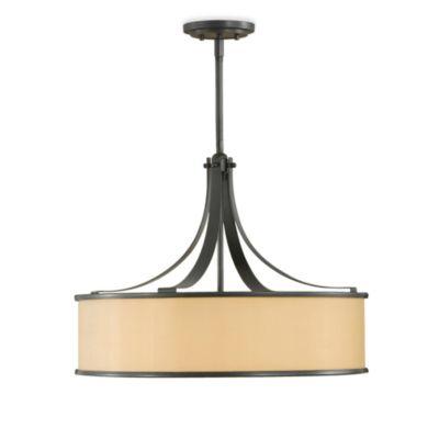 Feiss® Casual Luxury 4-Light Pendant in Dark Bronze with Bronze Organza Shade