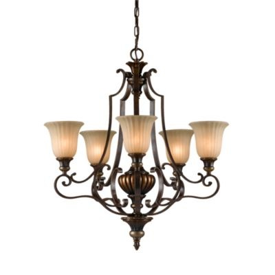 Firenze Gold/British Bronze 5-Light Chandelier