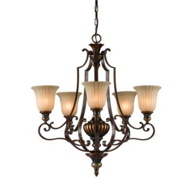 Feiss® Firenze Gold/British Bronze 5-Light Chandelier