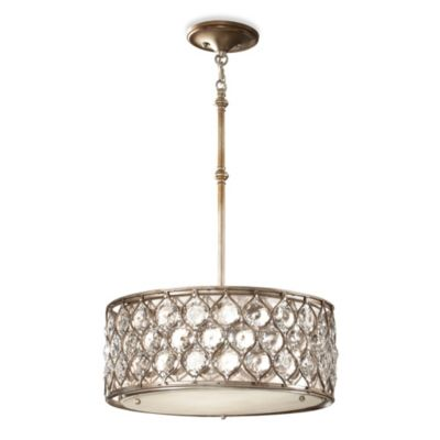 Feiss® Burnished Silver 3-Light 8-Inch Oval Pendant Chandelier