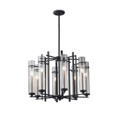 Feiss® Ethan Wrought Iron 8-Light Tier Chandelier with Clear Glass Shades