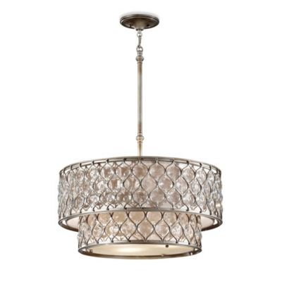 Feiss® Lucia 6-Light Pendant with Linen and Glass Shade