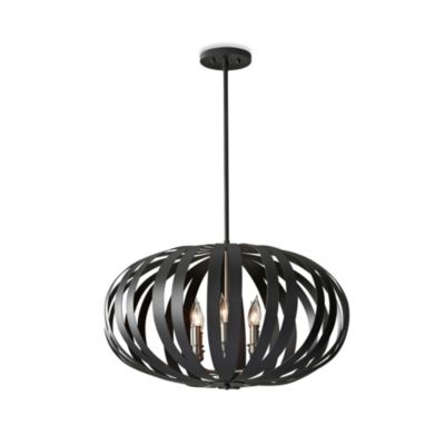 Feiss® Woodstock 6-Light Textured Large Pendant Light in Black