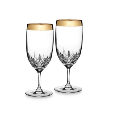 Waterford Lismore Essence Gold 19-Ounce Iced Beverage Glasses (Set of 2)