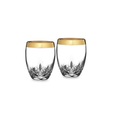 Waterford Lismore Essence Gold 14-Ounce Double Old-Fashioned Glasses (Set of 2)