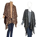Echo Design™ Cheetah Printed Ruana and Crystal Beaded Chiffron Wrap