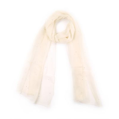 Echo Design™ Crystal Beaded Chiffron Wrap in Cream