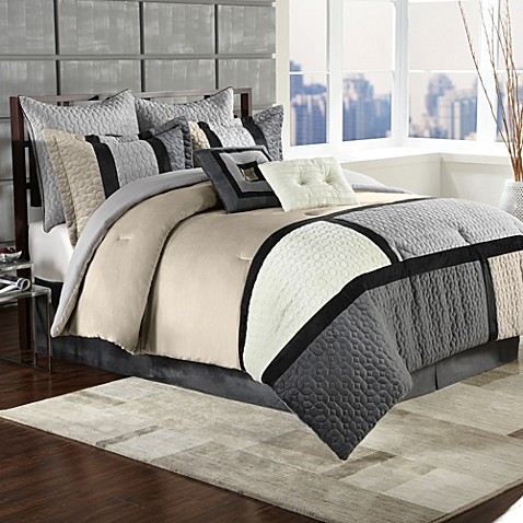 Clayton 8-Piece Comforter Set in Charcoal