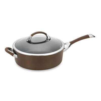 Circulon Symmetry Hard Amodized Nonstick 5-Quart Covered Sauté Pan w/Helper Handle in Chocolate