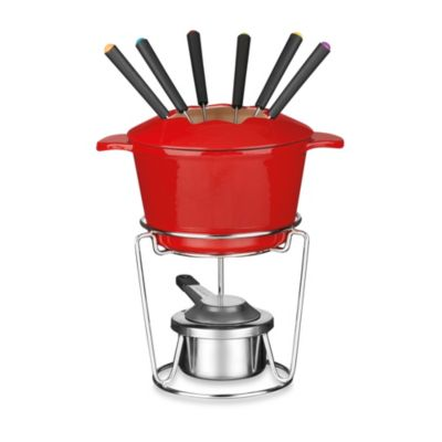 Cuisinart® 12-Piece Enamel Cast Iron Fondue Set in Red