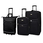 3-Piece Expandable Rolling Travel Set in Black