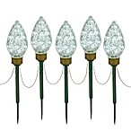 Vickerman 100-Light Clear Faceted Lawn Stakes (Set of 5)