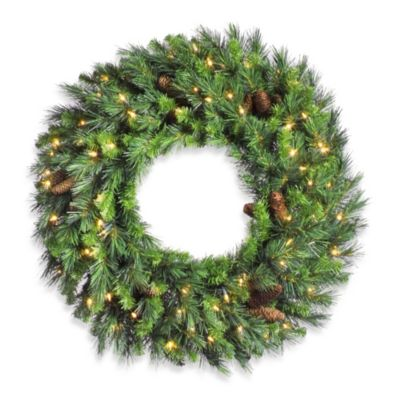 Vickerman 48-Inch Cheyenne Pine Pre-Lit Wreath with Clear Lights