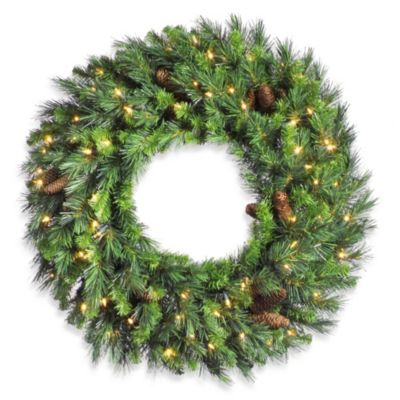 Vickerman 60-Inch Cheyenne Pine Pre-Lit Wreath with Clear Lights