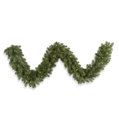 Vickerman 9-Foot 14-Inch Grand Teton Garland with White LED Lights