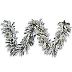 9-Foot x 16-Inch Flocked Snow Ridge Garland with LED Lights