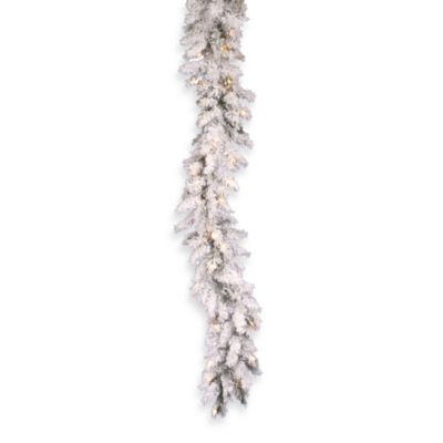 Vickerman 9-Foot Flocked Alaskan Pine Pre-Lit Garland with Clear Lights