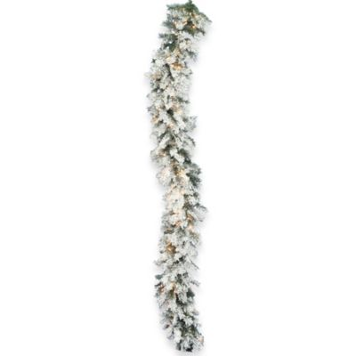 Vickerman 9-Foot x 16-Inch Flocked Alaskan Garland Pre-Lit with 100 Dura-Lit Clear Lights