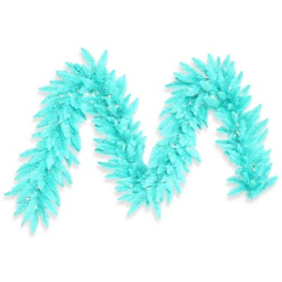 Vickerman 9-Foot x 14-Inch Aqua Fir Garland with 100 Aqua Mini Lights