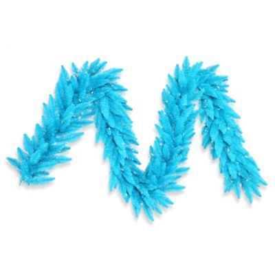 Vickerman 9-Foot Sky Blue Pre-Lit Garland with Sky Blue Mini Lights