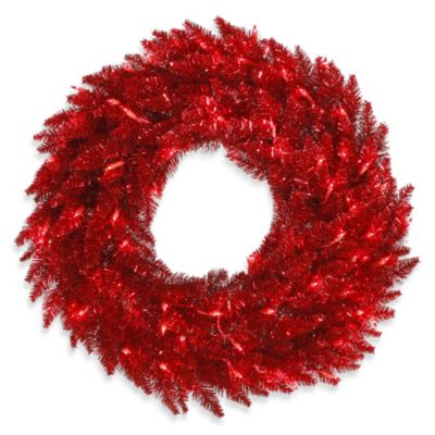 Vickerman 30-Inch Tinsel Red Wreath Pre-Lit with 70 Red Mini Lights