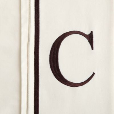 "Monogram Letter ""C"" Queen Pillowcases in Ivory (Set of 2)"
